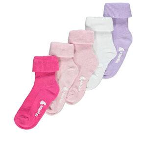 Pink Roll Cuff Tiny Steps Socks 5 Pack